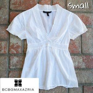 BCBG White semi sheer top small